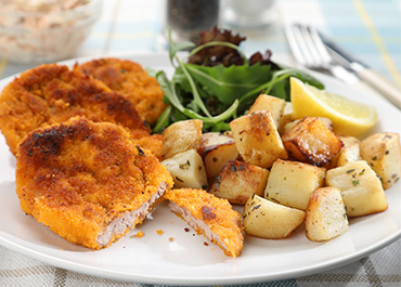 Pork Schnitzel with Fried Potatoes