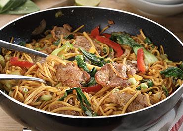 Stir-fry of Pork with Pak Choi & Noodles