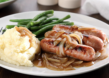 Bangers and Mash with Quick Onion Gravy