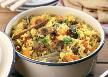 Pineapple and Apricot Pilaf with Pork Fillet